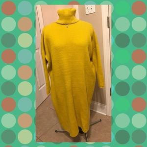 Mustard yellow tunic open back sweater size med